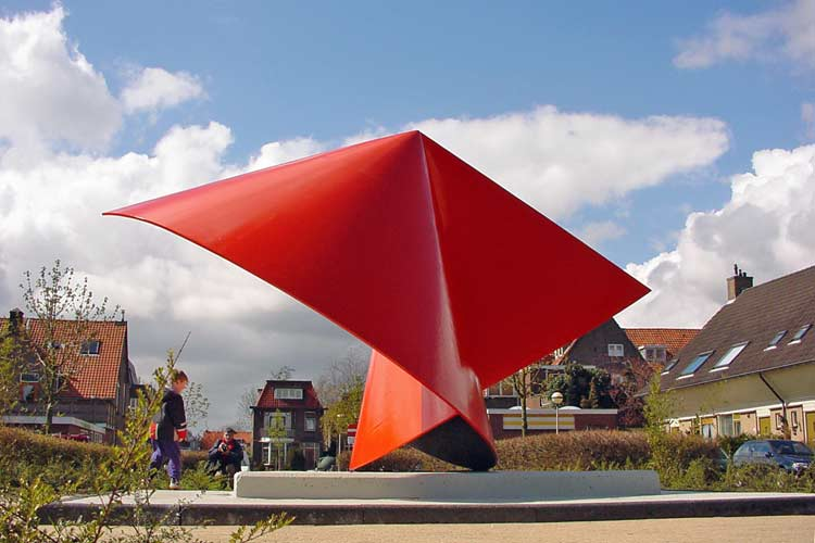 site specific sculpture in Zwijndrecht, The Netherlands - cities - environmental sculpture and landscape design -  free standing and public sculptures - landscape projects and bridges by Lucien den Arend, sculptor