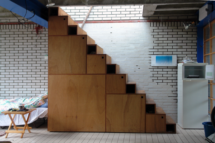 Staircase Cabinets Designed In 1982   Material: Plywood.